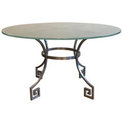 1960s French Metal and Glass Table