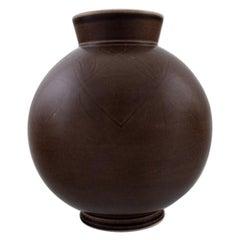 Aluminia, Copenhagen, Art Deco Faience Vase, Brown Glaze, circa 1940s