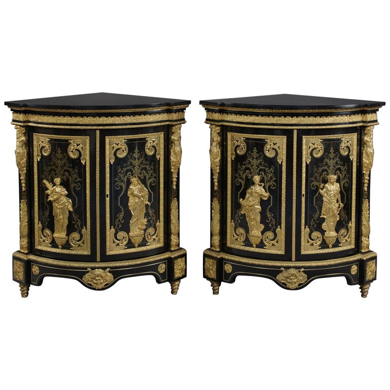 Pair of Boulle Marquetry Inlaid Corner Cabinets by Béfort Jeune, circa 1870 For Sale