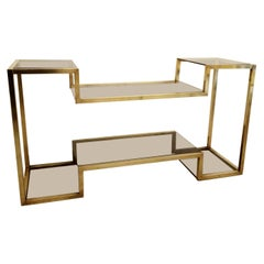 Romeo Rega Style Brass and Smoked Glass Console, Italy, 1970s