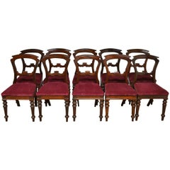 Set of 10 Victorian Antique Mahogany Dining Chairs