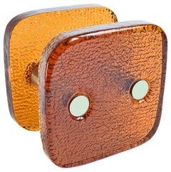 Square Push and Pull Door Handle Orange Glass with Metal Fittings France, 1970s