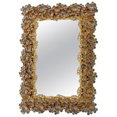 Illuminated Gilt Mirror Made by Palwa, Germany 1970s, Gold Colored