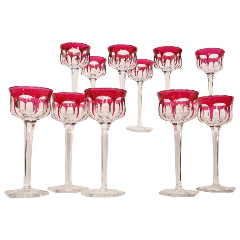 Set of Twelve Baccarat Hartcourt Wine Rhine Amethyst Color Mark under the Base 1