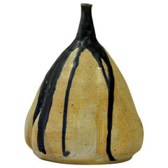 Decorative Scandinavian Pearshaped Ceramic Vase, 1979