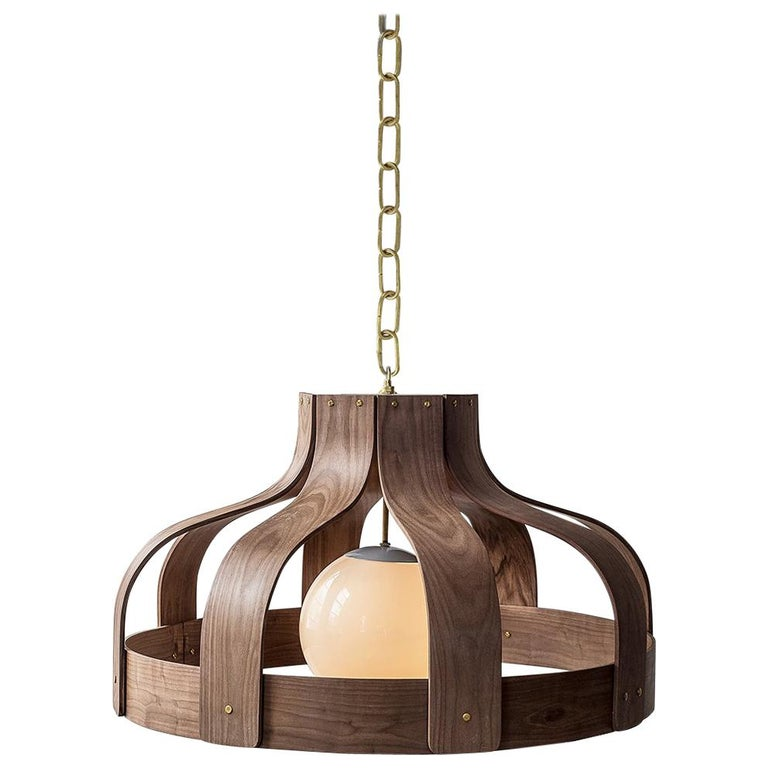 Wood Chandelier, Large and Circular, Bound by Carnevale Studio, Walnut For Sale