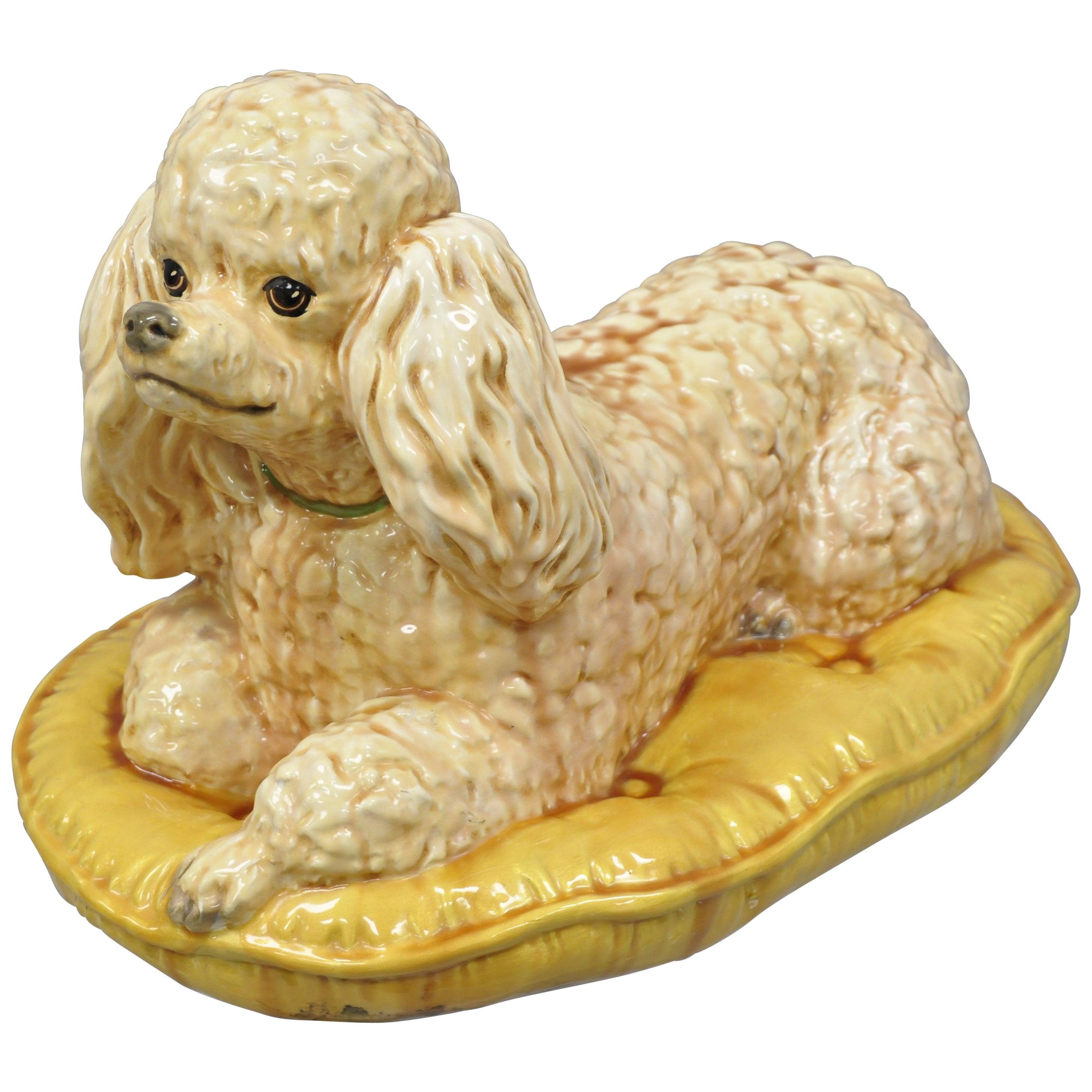 Vintage Glazed Ceramic Poodle Dog on Gold Tufted Pillow Statue Figure