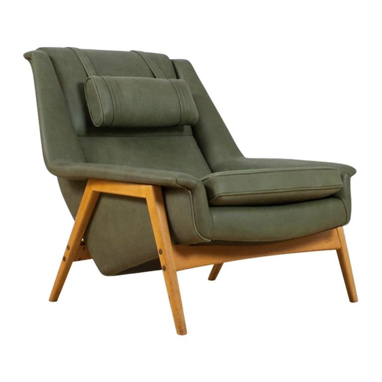 Scandinavian Modern Re-Upholstered Green Leather Lounge Chair by Folke Ohlson For Sale