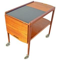 Hinged Side Table / Tea Trolley, 1960s Yngve Ekström for Källemo Teak Bar Cart