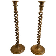 Mid-20th Century High English Brass spiral twisted Candlesticks