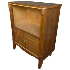 French Art Deco Style Blonde Mahogany Silver Cabinet