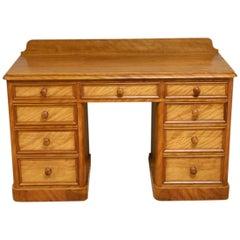 Satin Birch Victorian Antique Pedestal Desk