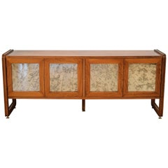 Midcentury Italian Red-Brown Rosewood Sideboard with Mirror Doors, circa 1960s