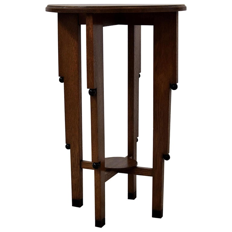 Art Deco Oak Side Table For Sale