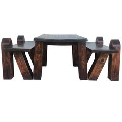 Carved Pine Coffee or Picnic Table with Two Benches Depicting a Verge with Child