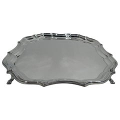 Antique English Sterling Silver Ogee Piecrust Salver Tray