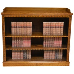 Large Satin Birch Victorian Antique Open Bookcase