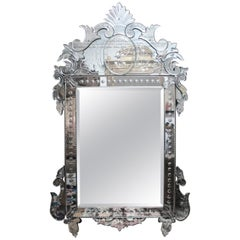 1900s Handcrafted Venetian Mirror with Floral Motifs