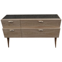 Modern Sideboard 'Xuni' Brass Top Handcrafted with European or Exotic Woods