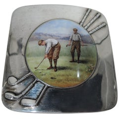 American Edwardian Sterling Silver and Enamel Golf Cigarette Case