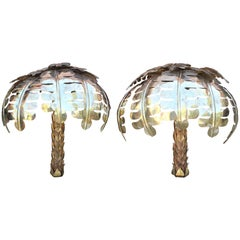 Pair of Gilded Brass Palm Tree Wall Lamps