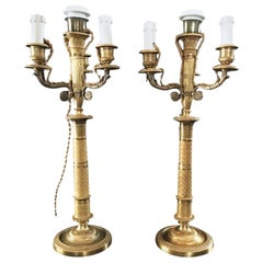 France Pair of Late 18th Century Handcrafted Golden Brass 4 Lights Candle Lamps