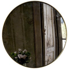 """Diafani"" brass adjustable wall mirror, handcrafted with antique silver finish."