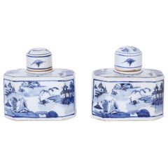 Pair of Chinese Blue and White Porcelain Hexagon Jars or Bottles