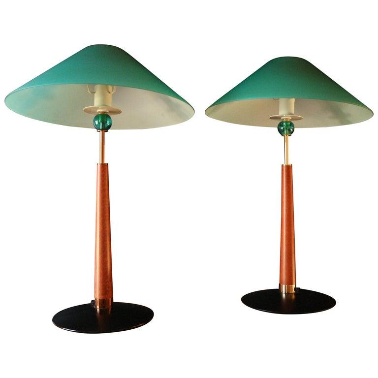 1980s De Majo Italian Murano Pair of Table Lamps 1