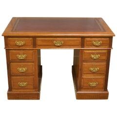 Victorian Maple & Co Antique Pedestal Desk