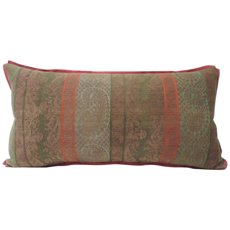 19th Century Antique Woven Red Kashmir Paisley Bolster Decorative Pillow For Sale