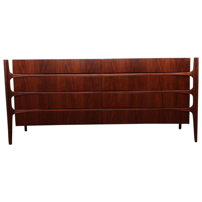 Walnut Curved Front Dresser Designed by William Hinn For Sale
