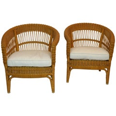Bonacina Pair of Rattan Chairs, Designed Tito Agnoli, circa 1960s