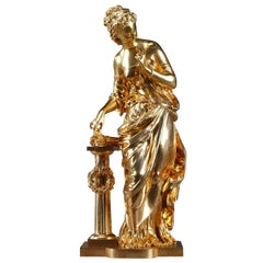 Gilt Bronze Figural Statue Venus with Cupid's Arrows by Mathurin Moreau