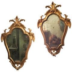 Late 18th Century Pair of Italian Giltwood Mirrors