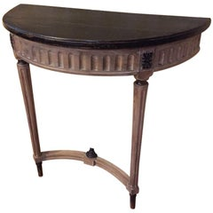 19th Century French Patinated Wood Console with Black Lacquered Top, 1890s