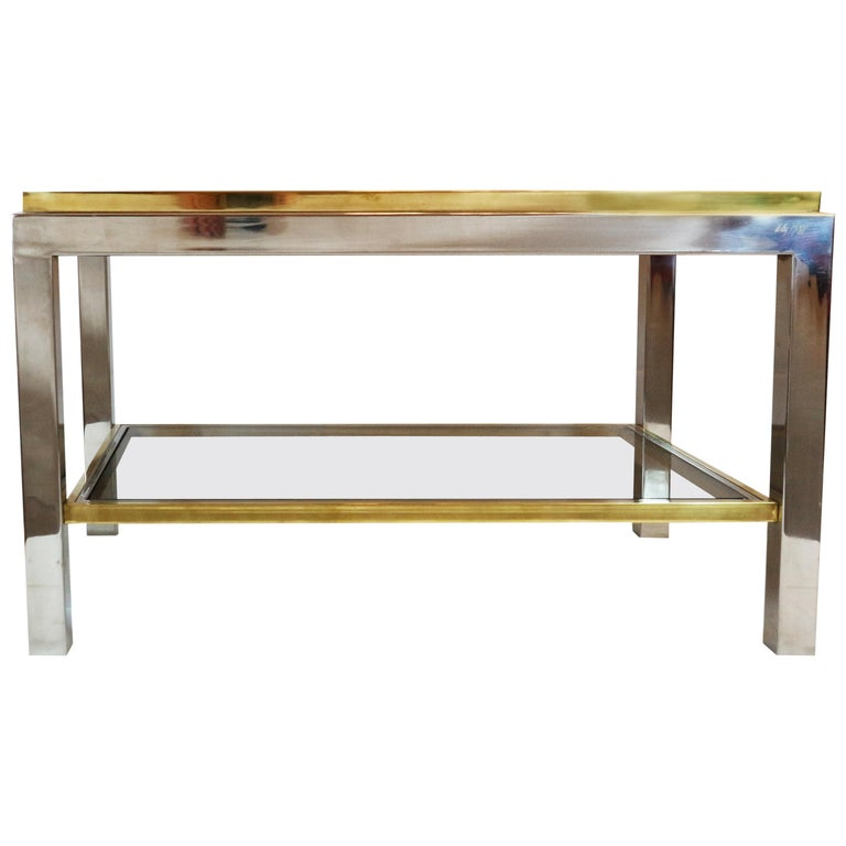 Willy Rizzo, 1970s Coffee Table in Brass, Chrome and Glass 1