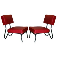 Pair of French Mid-Century Modern Industrial Lounge Chairs, Jacques Hitier, 1955