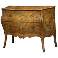 18th Century Italian Carved Bombe Painted Two-Drawer Venetian Commode Chest