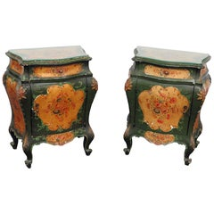 Pair of Italian Bombay Glass Top End Tables