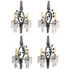 Set of Four 1950s Italian Floral and Beaded Two-Light Wall Sconces