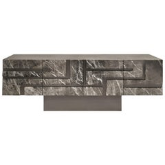 """Contemporary Handcrafted Buffet """"Phaethon"""" with Geometric Marble Facade"""