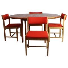 1970s Midcentury Danish Table and 4 Danish Børge Mogensen Dining Chairs