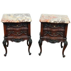 Louis XV Style Marble-Top End Tables