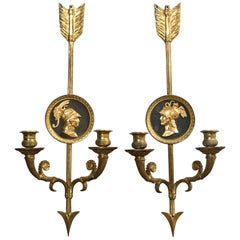 Pair of 2-Light Empire Style Sconces