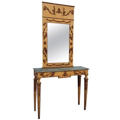 Italian Neoclassical Style Paint Decorated Console and Mirror