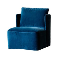 Keeton Fit Armchair in Teal Velvet by Meridiani