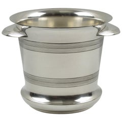 French Art Deco Modernist Silver Plate Champagne Ice Bucket Wine Cooler