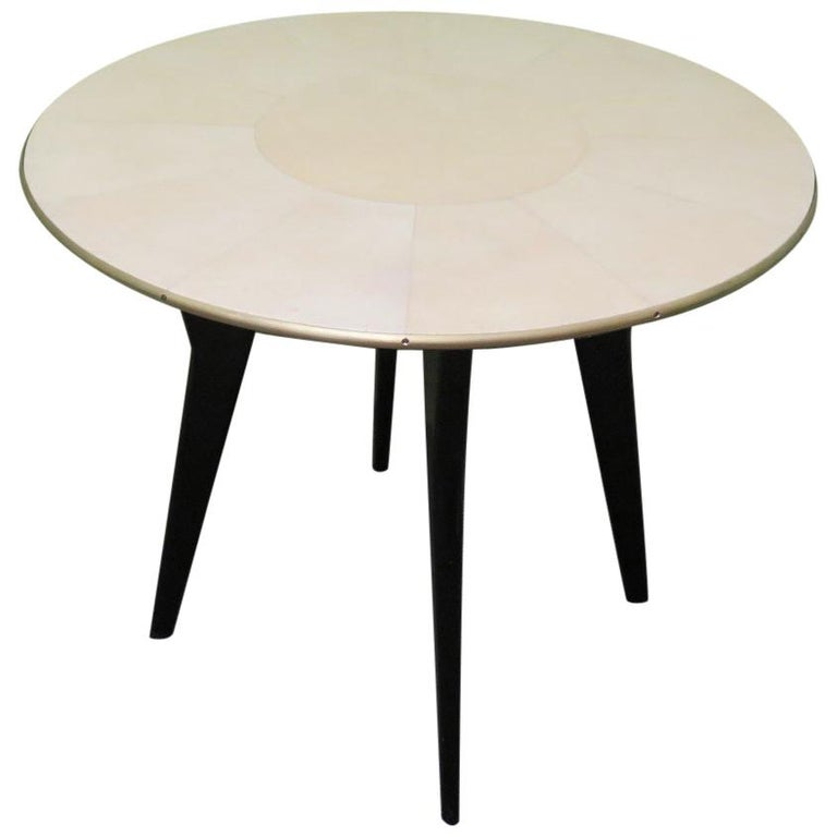 Art Deco Round Goatskin Card and Tea Table, 1940 For Sale