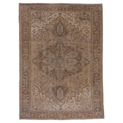 Antique Heriz Carpet with Neutral Palette, circa 1910s